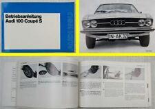Audi 100 Coupe S Betriebsanleitung Bedienungsanleitung 1971 / 1972 Bordbuch