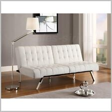 Futon Sofa Bed Living Room Couch Sleeper White Modern Faux Leather Furniture