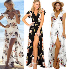 Women Floral Print Short Sleeve Boho Long Dress Evening Party Maxi Wrap Dresses