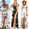 Womens Floral Print Short Sleeve Boho Long Cocktail Party Casual Maxi Wrap Dress