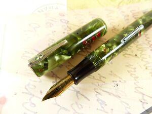 Green Red Waterman's 3V Fountain Pen Flex Nib - restored