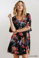 Umgee Black Floral Bohemian Print V-Neck Dress Size Small Medium Large