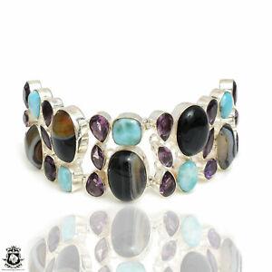 Banded Agate Larimar Amethyst Bracelet B3962