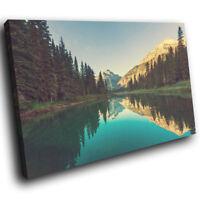 SC693 Teal Blue Forest Mountain Nature Landscape Canvas Wall Art Picture Prints