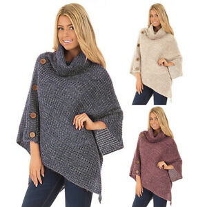 Women Ladies Turtle Neck Warm Poncho Jumper Sweater Knitted Cape Wrap Shawl Tops