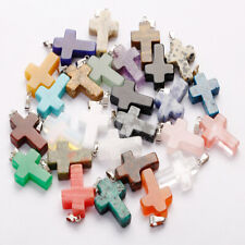 25pcs Natural gemstone quartz stone cross pendants charms for Jewelry making