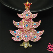 Betsey Johnson Charm Brooch Pin Pink Enamel Cute Christmas Tree Crystal