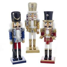 Set/3 Kurt Adler Soldier Nutcrackers Wood Glitter Gold Red Blue Christmas Decor