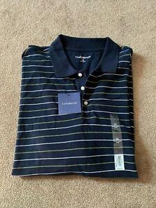 NWT Mens Croft & Barrow Navy Blue Striped Short Sleeve Polo Shirt - Size XL