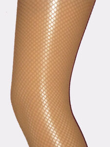 Natural Tan Fishnet Tights Ladies 8-14. dancer beige brown neutral