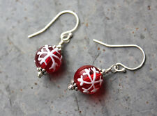 Red & White Snowflakes Christmas Earrings- painted glass, sterling silver hooks