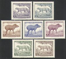 Paraguay 1961 Independence/Puma/Tapir/Wildlife/Nature/Cats/Animals 7v set n33974