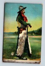 "POSTMARKED CANEY KANSAS KS SHOWING A COWBOY NAMED ""BUCKSKIN BILL"" POSTCARD A2"