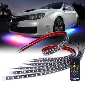 Xprite 6x RGB Underglow Underbody LED Light Strip Dancing+Remote+Music Control