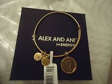 Alex and Ani Initial  J Charm Bangle Bracelet  Russian Gold New W/Tag Card & Box