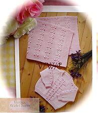 """Knitting Pattern Baby's """"Lazy Daisy"""" Cardigan & Blanket. 4 Sizes (Blanket 1 Size"""