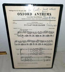 John Rutter 1983 Oh Clap Your Hands SIGNED sheet music Omaha Concert JSA Cert
