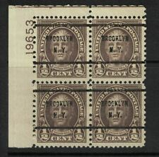 Us stamps - 1922 - hale - 1/2c sepia - plate block 19653 - precancel brooklyn