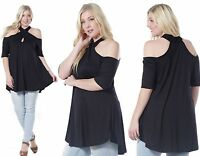 Ladies Black Plus Size Cut Out Shoulder Party Tunic Top Size 16 18 20