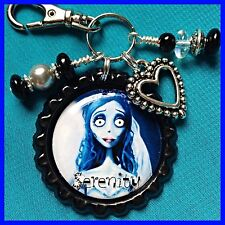 Personalized CORPSE BRIDE Bottle Cap Name Necklace, Jewelry, Zipper Pull Pendant