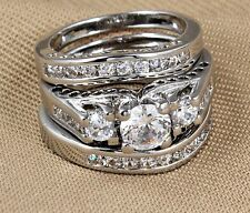 Size 4-12 3 PC Set Wedding Engagement Ring White Gold Rhodium Statement Cocktail