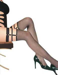 Sexy Black Fishnet Hold Up Stockings with Stud & Strap Garter Band One Size 8-12