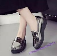 Patent Leather Womens Shoes Slip On Wedge Pumps Round Toe High Platform Fashion