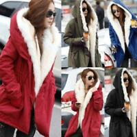 Womens Ladies Warm Long Coat Fur Collar Hooded Jacket Slim Winter Parka Outwear