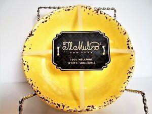 IL MULINO Melamine Bowl Set, RUSTIC YELLOW, Small, Salad, Cereal,  NEW X 4