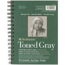 """Strathmore Toned Sketch Spiral Paper Pad 5.5""""X8.5""""-Gray 50 Sheets, 412105"""