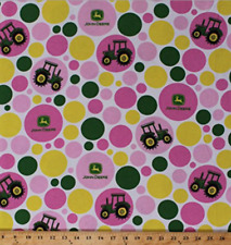 John Deere Polka Dots Tractor Pink Yellow Circle 100% flannel fabric by the yard