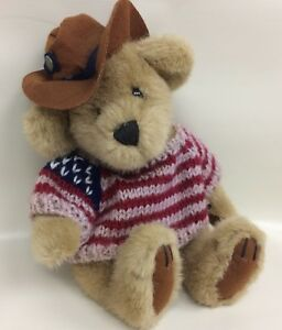 Patriotic Plush Teddy Bear Knit Sweater and Brown Felt Hat Original Brass Button