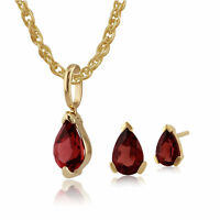 9ct Yellow Gold Genuine Garnet Pear Shaped Claw Set Earring & Necklace Set