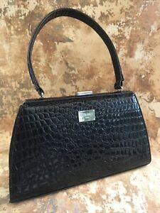 Edina Ronay Black Faux Crocodile Handbag