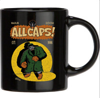 All Caps MF Doom Batman Gotham Comic Parody Funny Black Coffee Mug Tea Cup