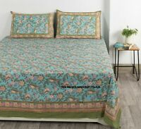 Indian Cotton Block Floral Printed Bedsheet Bedspread Bedding With Pillow covers