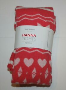 New Hanna Andersson Girls Tights 150 160 14 year Coral Red Hearts & More Print