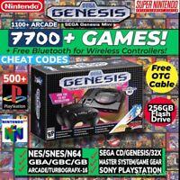 NIB SEGA GENESIS MINI WITH 7500+ GAMES, CHEATS AND 2 FREE BLUETOOTH ADAPTERS
