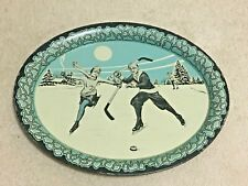 Vintage c. 1930's Hockey Skating Metal Oval Tray Young Boy & Girl, Lithographed