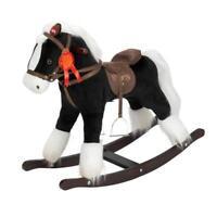 Black Rocking Horse Toy On Plush Children Wooden Baby Rocker Pony Riding Sound