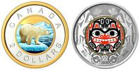 🇨🇦 Two Canadian Beautiful Toonie 2 Dollars Coins, Silver & Grizzly, UNC, 2020