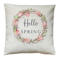 Hello Spring wreath cushion cover 40 cm ~ Rustic/botanical country/gift