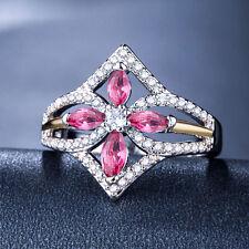 Pretty 925 Silver Jewelry Pink & White Sapphire Women Wedding Ring Size 6