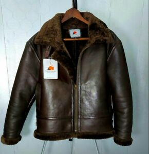 Mens Brown RAF Leather Jacket Bomber Pilot Flying Aviator Fur Collar Shearling