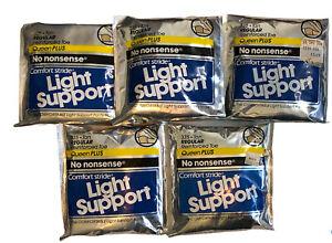 Lot 5 No Nonsense Pantyhose Comfort Stride Light Support Size Queen Plus Tan Vtg