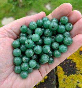 Vintage Job Lot Green Aventurine Gemstone Beads - 9 -10 mm - Jewellery Making