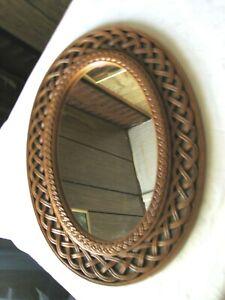 Vintage Wicker Plastic Wall Mirror  ( 12.5 x 16.75 )