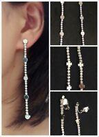 Long Silver Diamante Long Dangle Tassel Clip On Drop Earrings Crystal Gift UK