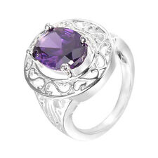 Men/Women Jewelry 925 Sterling Silver Plated Amethyst CZ Fashion Size 8 Ring F60