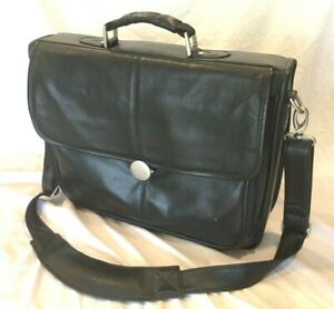 LB1 High Performance Leather Unisex Business Messenger Bag Briefcase Bag for Dell JKVC5 Notebook Laptop Brown